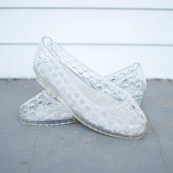90s Clear Jelly Flats - Size 6