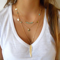 Gold Metal Feather Pendant Chain Necklace
