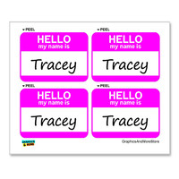 Tracey Hello My Name Is - Sheet of 4 Stickers