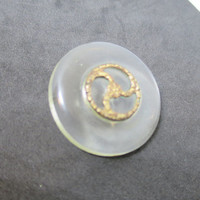 Vintage Clear Lucite Button Metal Spiral Wheel Accent Gold Finish 1.5 inch Size 1930's Coat Button