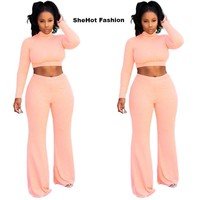 Women Two Piece Long Sleeve Knitted Turtleneck Crop Top Pant Set