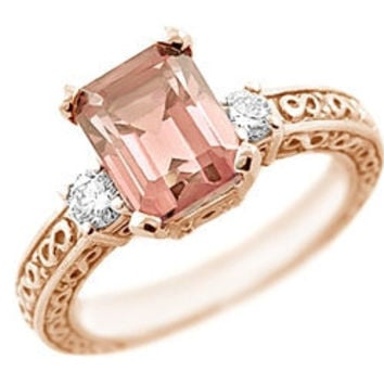 3.70ct Emerald Cut Peach Pink Morganite & Diamond Three Stone Engagement Ring 14k Rose Gold Vintage Antique Style