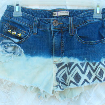 OOAK Custom dipped tribal tumblr inspired hipster shorts