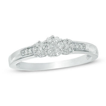1/5 CT. T.W. Diamond Triple Flower Ring in 10K White Gold - Brilliant Buys - Zales
