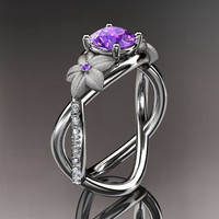 14kt  white gold diamond leaf and vine birthstone ring ADLR90 Amathyst - February's Birthstone