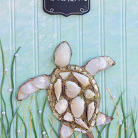 Sea Turtle Art, Original Beach Decor on Wood. Mixed Media Ocean Wall Hanging 11X17 inches