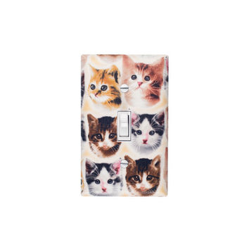Kitten Face Light Switch Plate Cover / Girls Room / Cat Lover / Slightly Smitten Kitten Designs