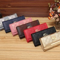 """Gucci"" Women Simple Fashion Letter Embossed Long Section Multifunction Purse Button Three Fold Wallet Clutch"