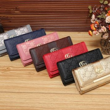 """""""Gucci"""" Women Simple Fashion Letter Embossed Long Section Multifunction Purse Button Three Fold Wallet Clutch"""
