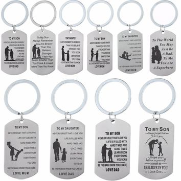 Dad Mom Love To Son Daughter Friend Keychain Dag Tag Stainless Steel Keyring Mothers Fathers Key Chain Boys Girls Key Ring Gifts