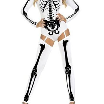 New White The Vampire Halloween Costumes Skeleton Ghost Bride The Queen Long Jumpsuit