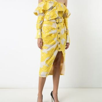 Yellow Embroidered Lace Midi Skirt