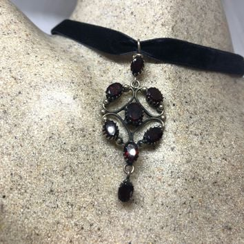 """Bohemian """"Y"""" necklace Droplet, garnet  and Sterling Silver Necklace"""