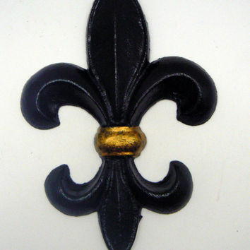 Fleur de lis Metal Cast Iron Painted Black and Metallic Gold Wall Decor French Decor New Orleans Saints Team Spirit