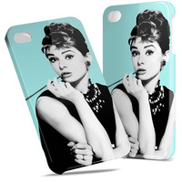 Audrey Hepburn on Teal - Hard Cover Case iPhone 5 4 4S 3 3GS iPod Touch HTC Samsung Galaxy Motorola Droid Blackberry LG Sony Xperia & more