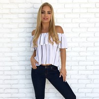 Seas The Day Stripe Top in White