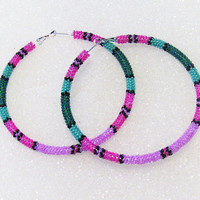 Extra Large Hand Beaded Hoop Earrings In Lavender, Pink, Teal, Turquoise-3 Inches In Diameter