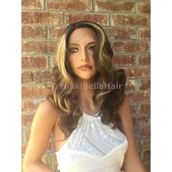 America Honey Balayage' Multi Parting Human Hair Blend Lace Front Wig 14'