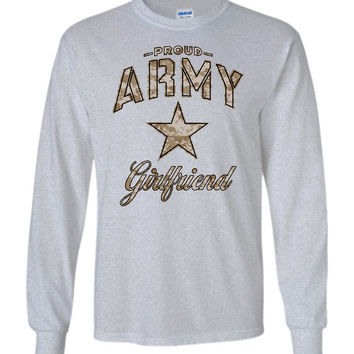 Proud Army Girlfriend Camo Long-Sleeve T-Shirt