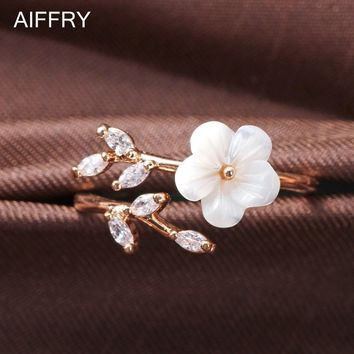 Free Box Package Shell Flower Rings For Women White Fashion Midi Ring Anillos Mujer Jewelry R2095