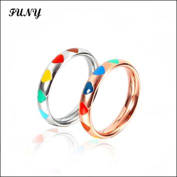 Cute/Romantic Rings for women High quality jewelery Stainless Steel female jewelry 2 colors Party fashion Gift Classic