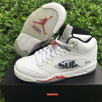 Supreme x Air Jordan 5 White Unisex Basketball Shoes