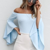 To The Top Blue Cold Shoulder Bell Bodysuit