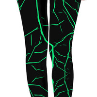 Green bolts, thunders at black night sky leggings design, stylish woman clothing