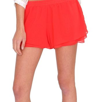 Summer Bliss Chiffon Shorts - Red