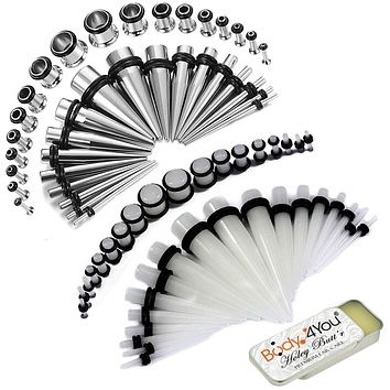 BodyJ4You 73PC Gauges Kit Ear Stretching Balm 14G-00G Single Flare Acrylic Steel Tunnel Plug Taper