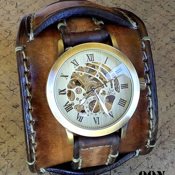 Leather Cuff, Watch Cuff, Men's Leather Watch, Vintage style Wrist Watch,  Bracelet watch, Leather Strap