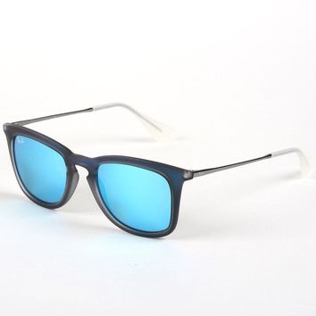 Ray-Ban Blue Rubber Sunglasses with Blue Mirrored Lenses, RB4221 6170/55 - Men