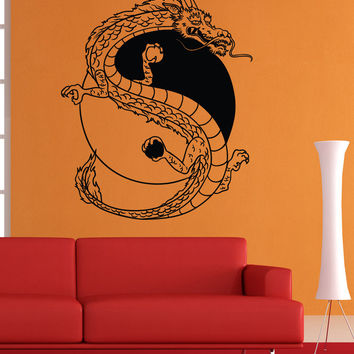 Vinyl Wall Decal Sticker Dragon Yin Yang #1462