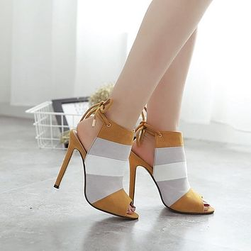 Multi Color Ankle Strap Sandals