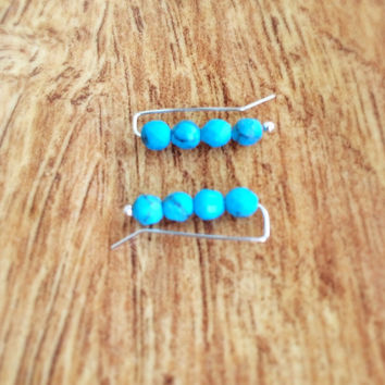 Turquoise Pin Earrings, Turquoise Earrings, Turquoise Ear Climber, Sterling Silver Earrings, Turquoise Ear Sweep, Boho Faceted Turquoise