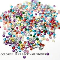 NAIL Art 500 PCS 2 mm Colorful Neon Nail Art Stones Studs Iron On, Hot Fix, or Glue On