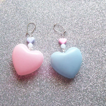 Sweet Pastel Pink and Purple Heart Earrings