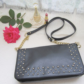 vintage purse, crossbody purse, leather purse,  black purse, black shoulder purse stud, gold chain, small purse, messenger bag