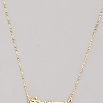 Old English Sagittarius Necklace in Gold
