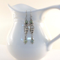 Earrings Green Blue Picasso Czech Glass With Silver