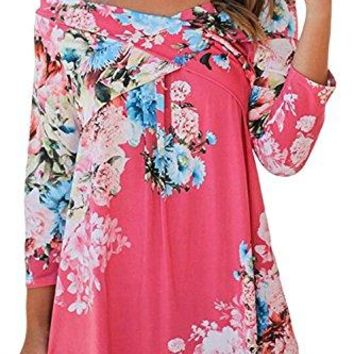 Aifer Women Casual Off Shoulder Shirts 34 Sleeve Floral Print Blouse Tops