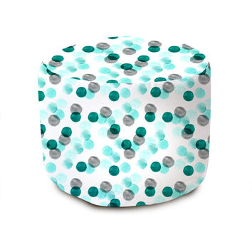 Mint Watercolor Dots Pouffe