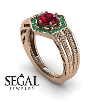 Unique Engagement Ring 14K Red Gold Vintage Art Deco Edwardian Ring Filigree Ring Ruby With Green Emerald - Peyton