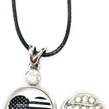 "USA American Flag Heart America Firefighter Thin Red Line Snap on 18"" Leather Rope Diamond Pendant Necklace W/ Extra 18MM - 20MM Snap Charm"