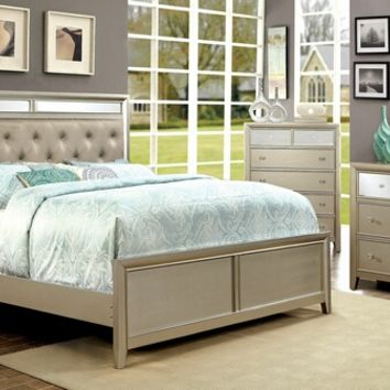 5 pc Briella silver finish wood with mirrored panels and tufted headboard queen bedroom set
