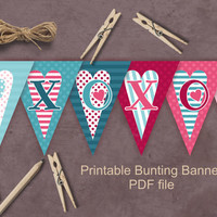 XOXO bunting  banner, printable Valentine  party decoration, pink, teal, hearts,  PDF file instant download, ready to print and cut, DIY