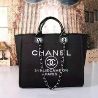 CHANEL Women Shopping Bag Leather Tote Satchel Shoulder Bag Handbag Crossbody