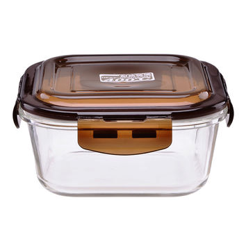 Square Food Containers Borosilicate Glass Lunch Box Microwavable Heat Fridge Fresh Lock Bowl