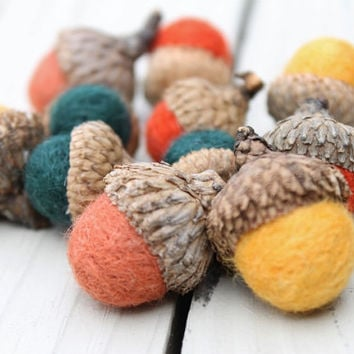 Wool Felted Acorns in Dark Green Mustard Rust and Orange  Home Decor Neutral Eco Friendly
