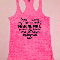 Military Love...Marine Wife Heart Burnout Racerback Tank...S-XL...Free Shipping